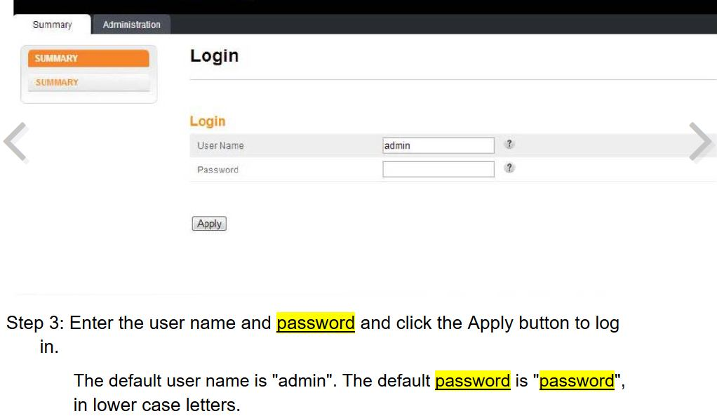 mot de passe Usine Interface web du Extender TV (A
