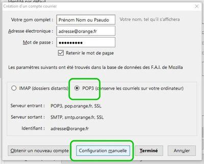 Choisir POP3 et passer en configuration manuelle
