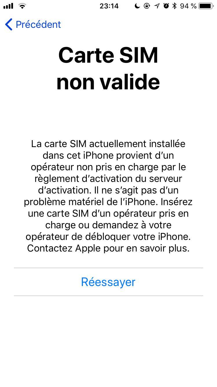 iphone carte sim non valide Carte SIM étrangère non valide   Communauté Orange