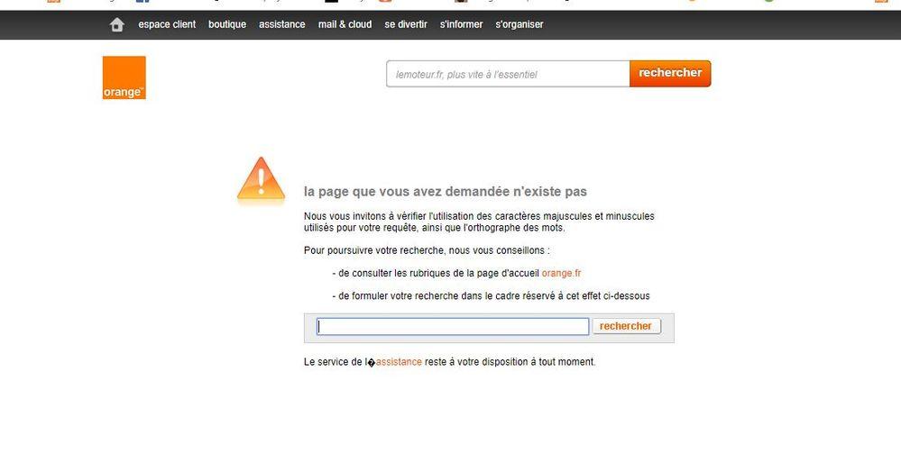 Résolu : page non trouvée Communauté Orange