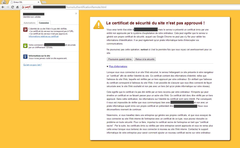 Erreur Certificat SSL