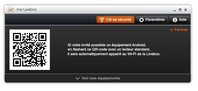 Ma Livebox - QR code WiFi