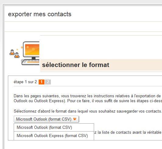 Contacts - Exporter vers ...