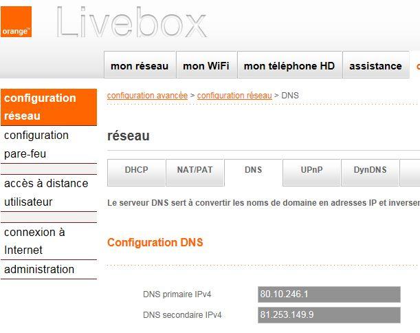 Livebox - adresses DNS