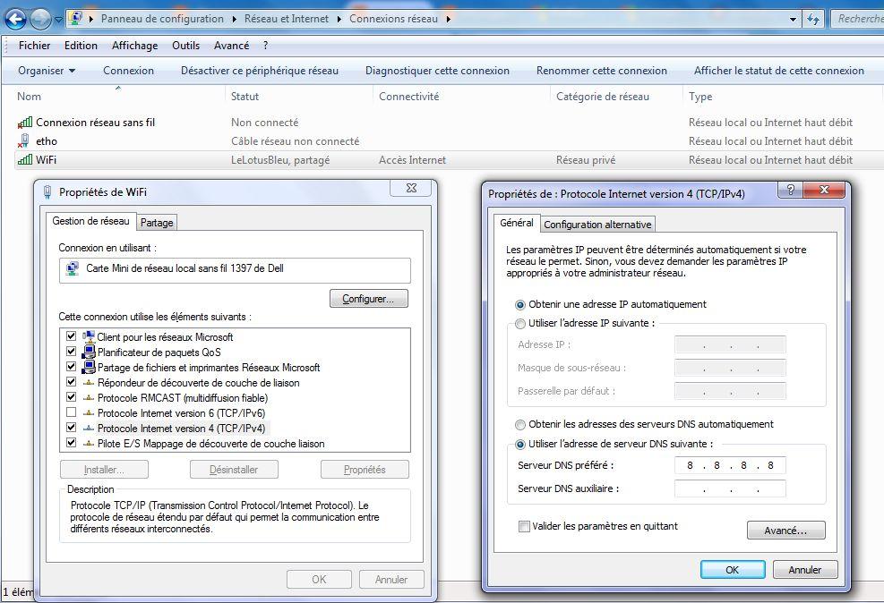 Parametrage de l'adresse DNS