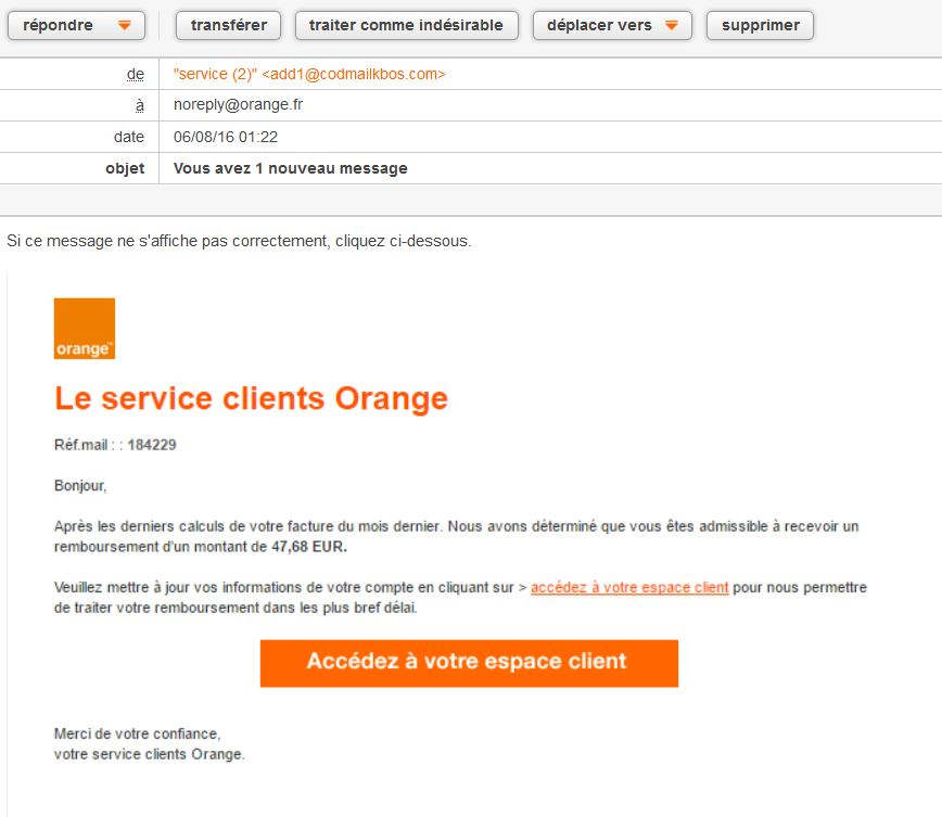 arnaque facture orange
