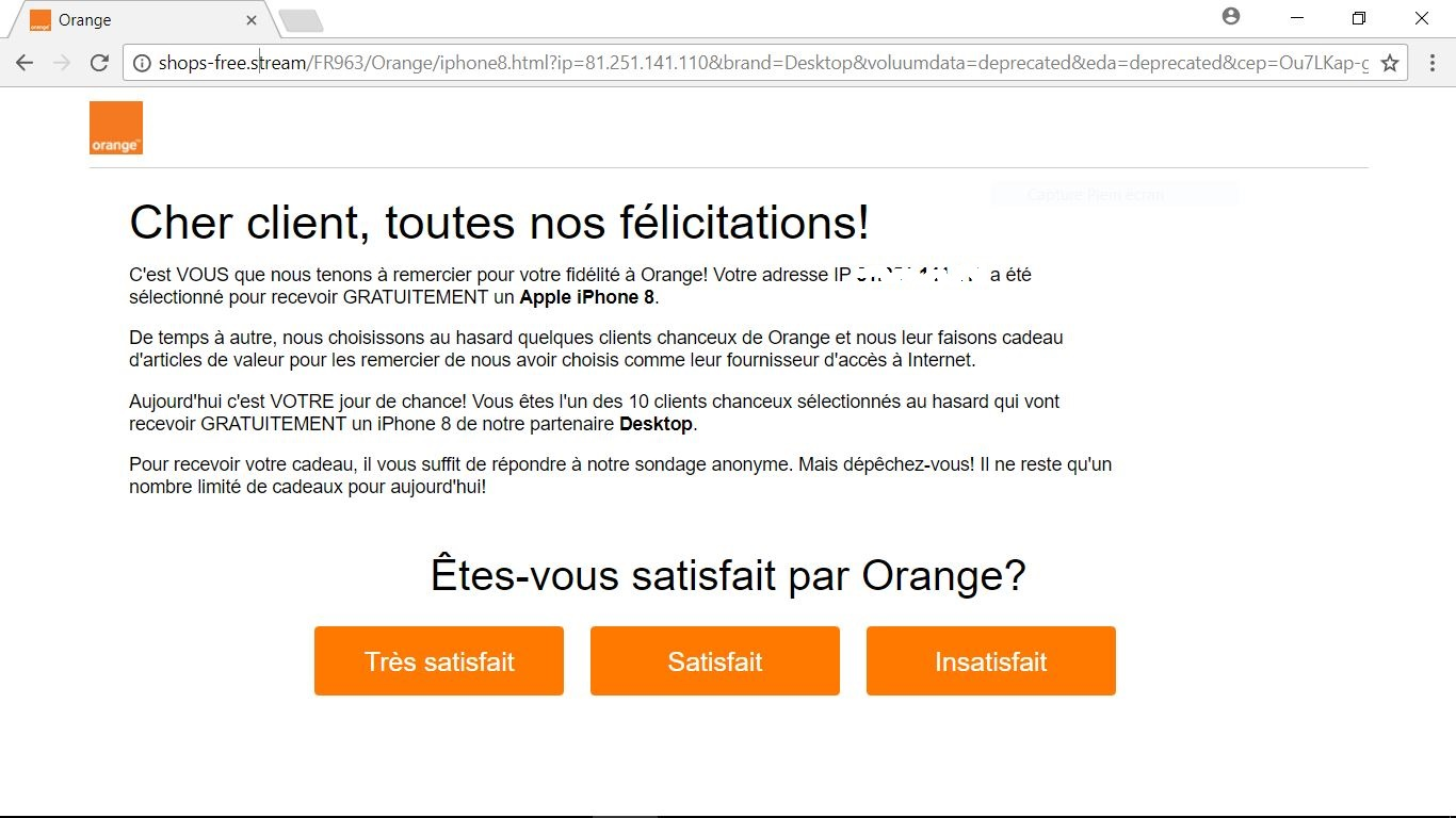 arnaque orange