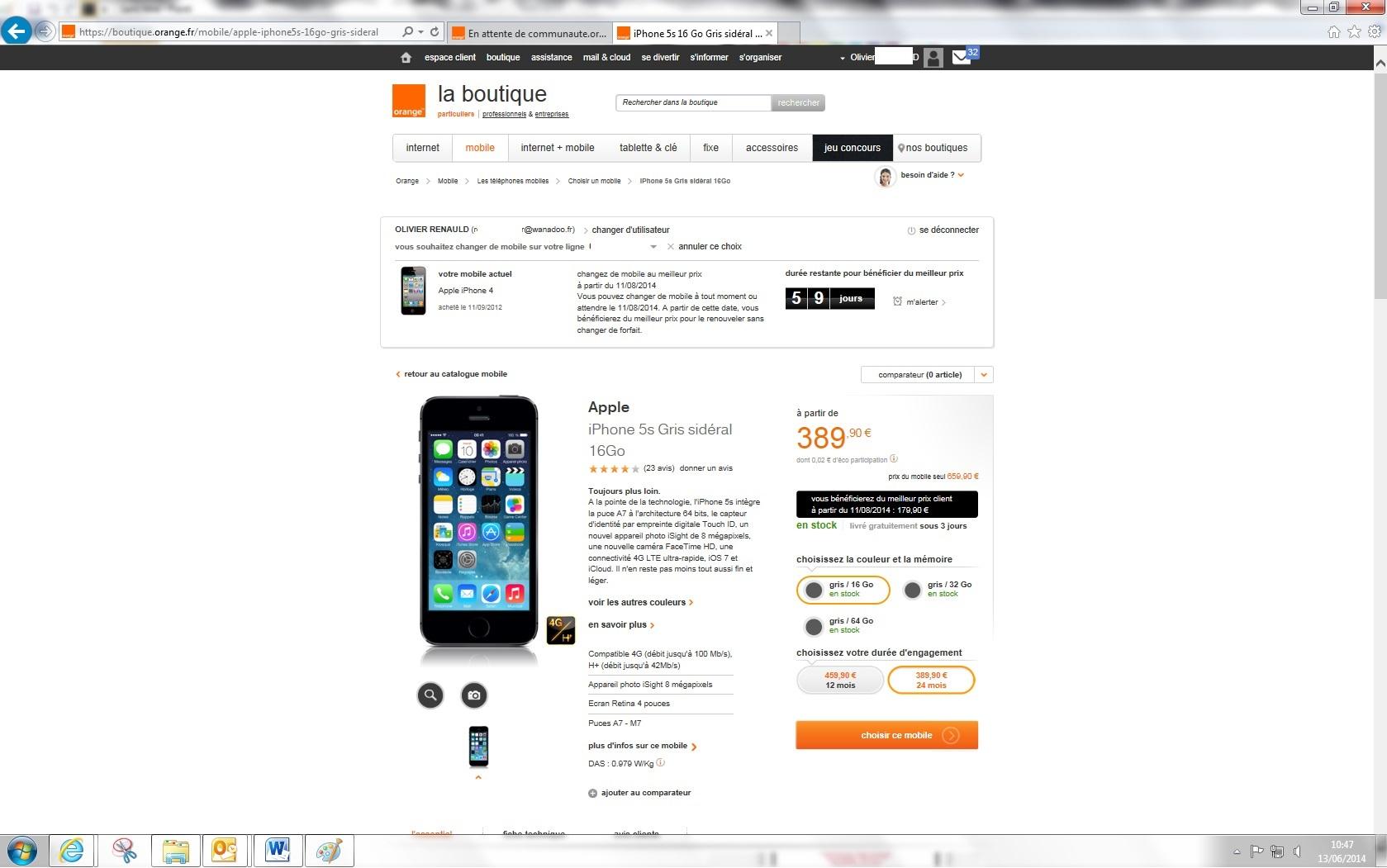 incomprehension sur le changement de mobile communaut orange. Black Bedroom Furniture Sets. Home Design Ideas
