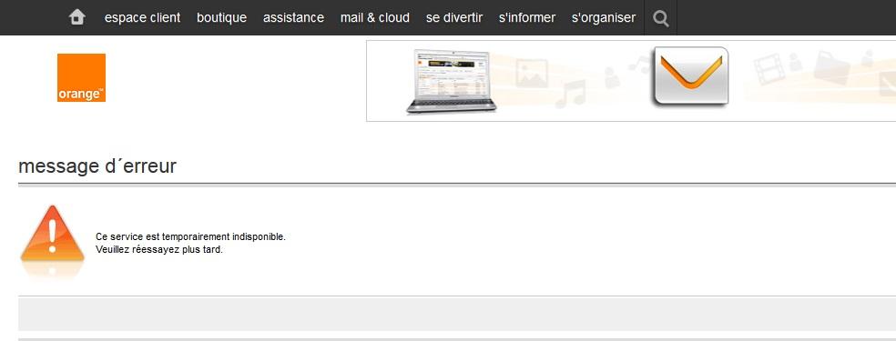 """Résultat de recherche d'images pour """"mail orange indisponible"""""""